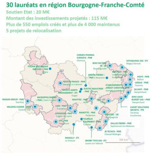 Fonds d'accélération des investissements industriels dans les territoires – 30 premiers lauréats en Bourgogne-Franche-Comté