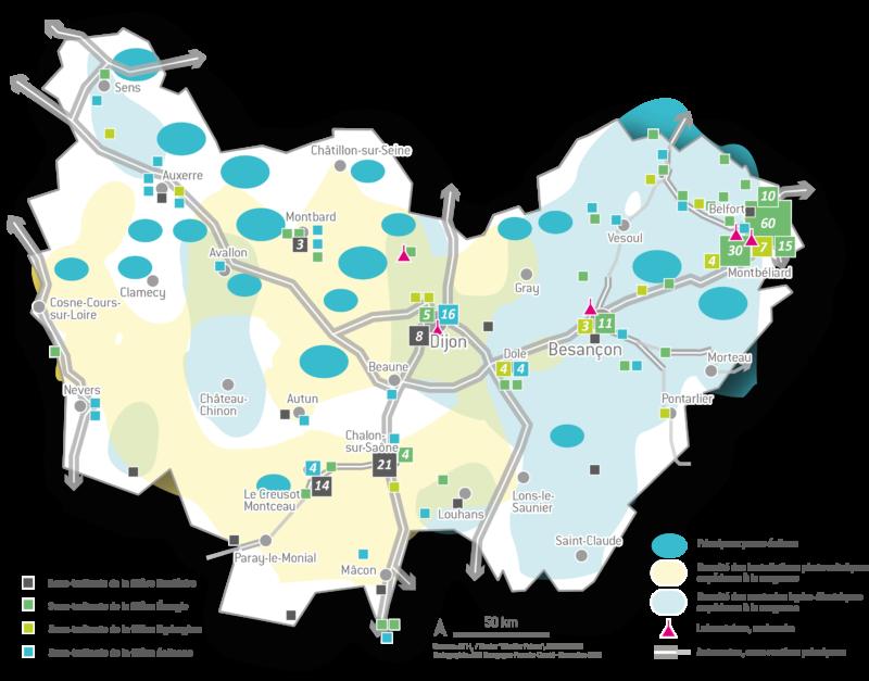Carte énergie en Bourgogne-Franche-Comté