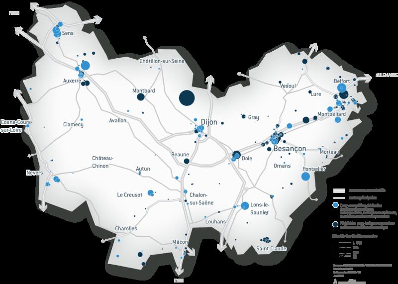 Carte Aéronautique en Bourgogne-Franche-Comté