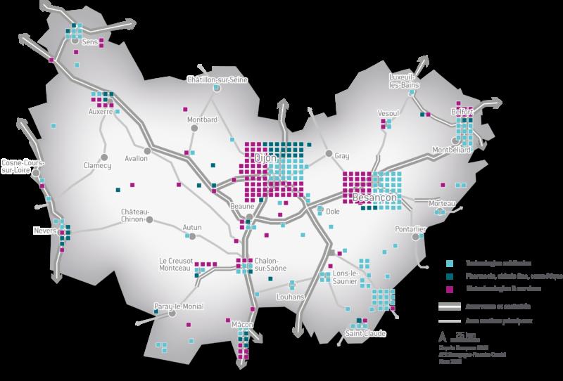 Carte Industries et Technologie de Santé en Bourgogne-Franche-Comté