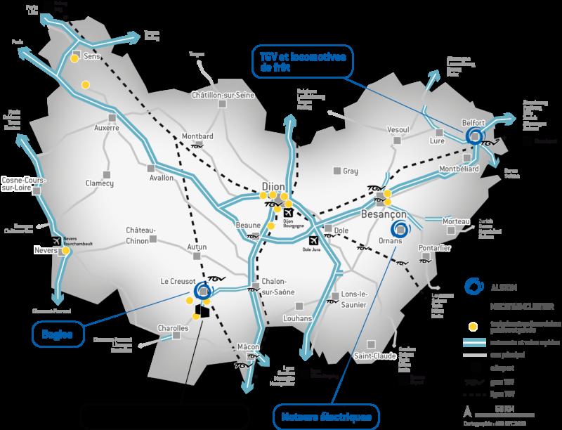 Carte ferroviaire en Bourgogne-Franche-Comté