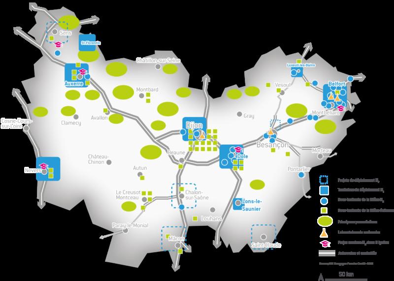 Carte Hydrogène en Bourgogne-Franche-Comte