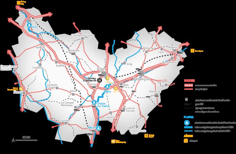 Carte logistique Bourgogne-Franche-Comté