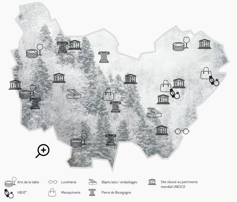 Carte Luxe et savoir-faire d'exception en Bourgogne-Franche-Comté